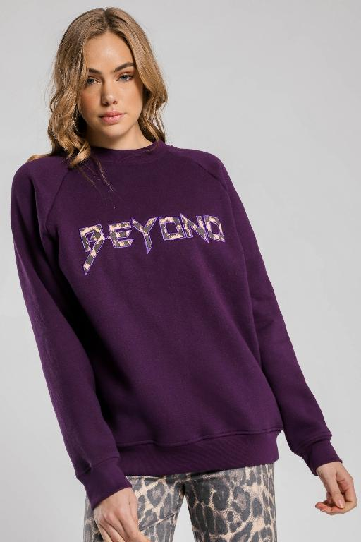 BEYOND HER - BEYOND OVERSIZED JUMPER PURPLE 34005