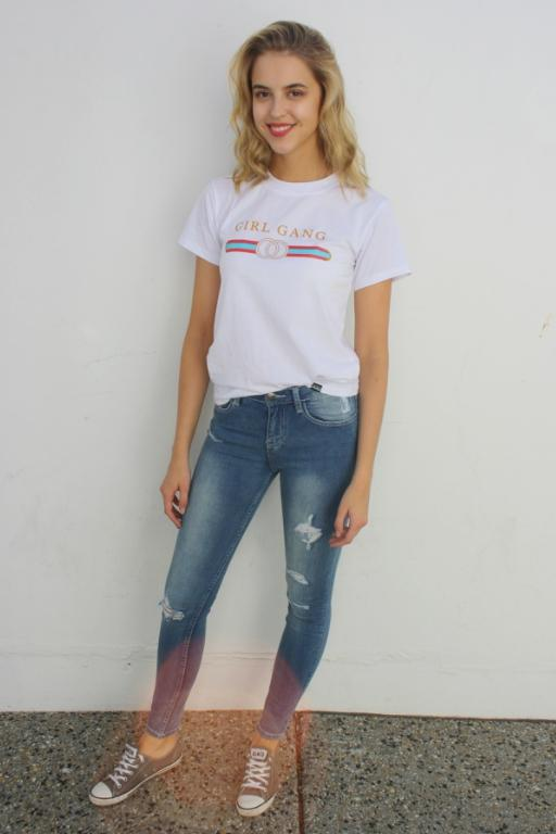 WEDNESDAYS PROJECT - GIRL GANG TEE WHITE 33375