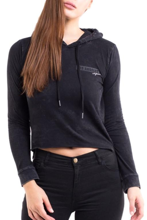 ALL ABOUT EVE - LA HOODED TEE WASHED BLACK 32349
