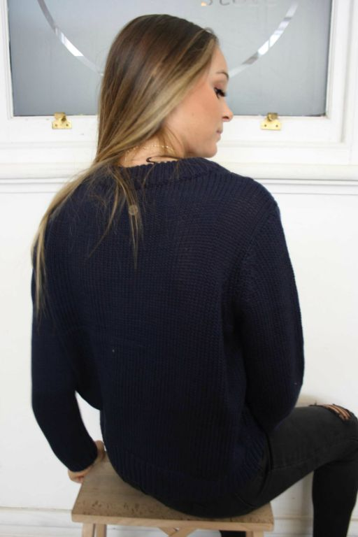 ALL ABOUT EVE - MISSING LINK KNIT NAVY 34918