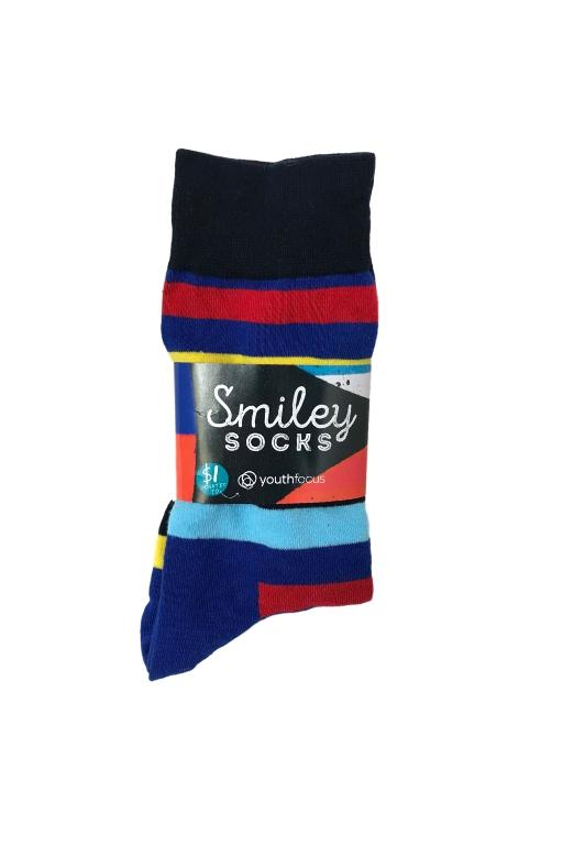 SMILEY SOCKS - SMILEY MENS SOCKS 3 (STRIPES) 34024