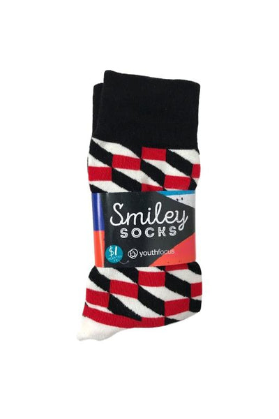 SMILEY SOCKS - SMILEY MENS SOCKS 7(BLACK/WHITE/RED PATTERN) 34024