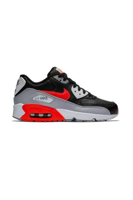 NIKE - AIR MAX 90 LTR (GS) WOLF GREY/BRIGHT CRIMSON-BLACK (GRYCR) 29125