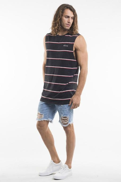 SILENT THEORY - YARD STRIPE MUSCLE WASHED BLACK 33918