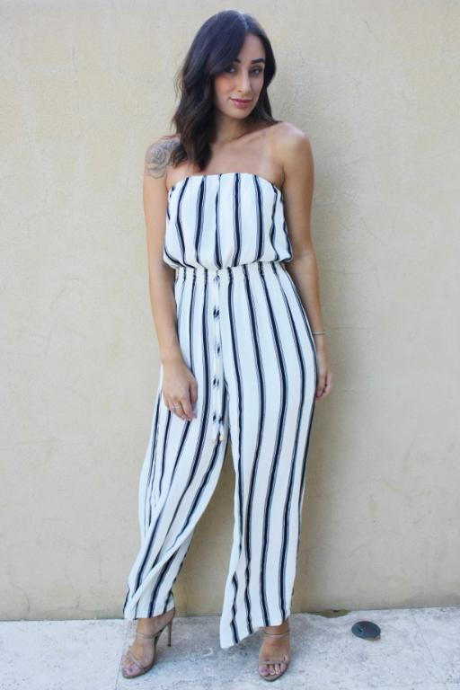 ASHA - WEEKENDER PLAYSUIT WHITE/STRIPE 34813