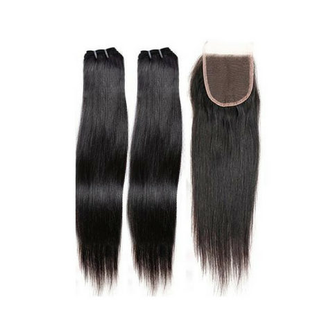 2 Bundles with Lace Closure- Elite Natural Straight