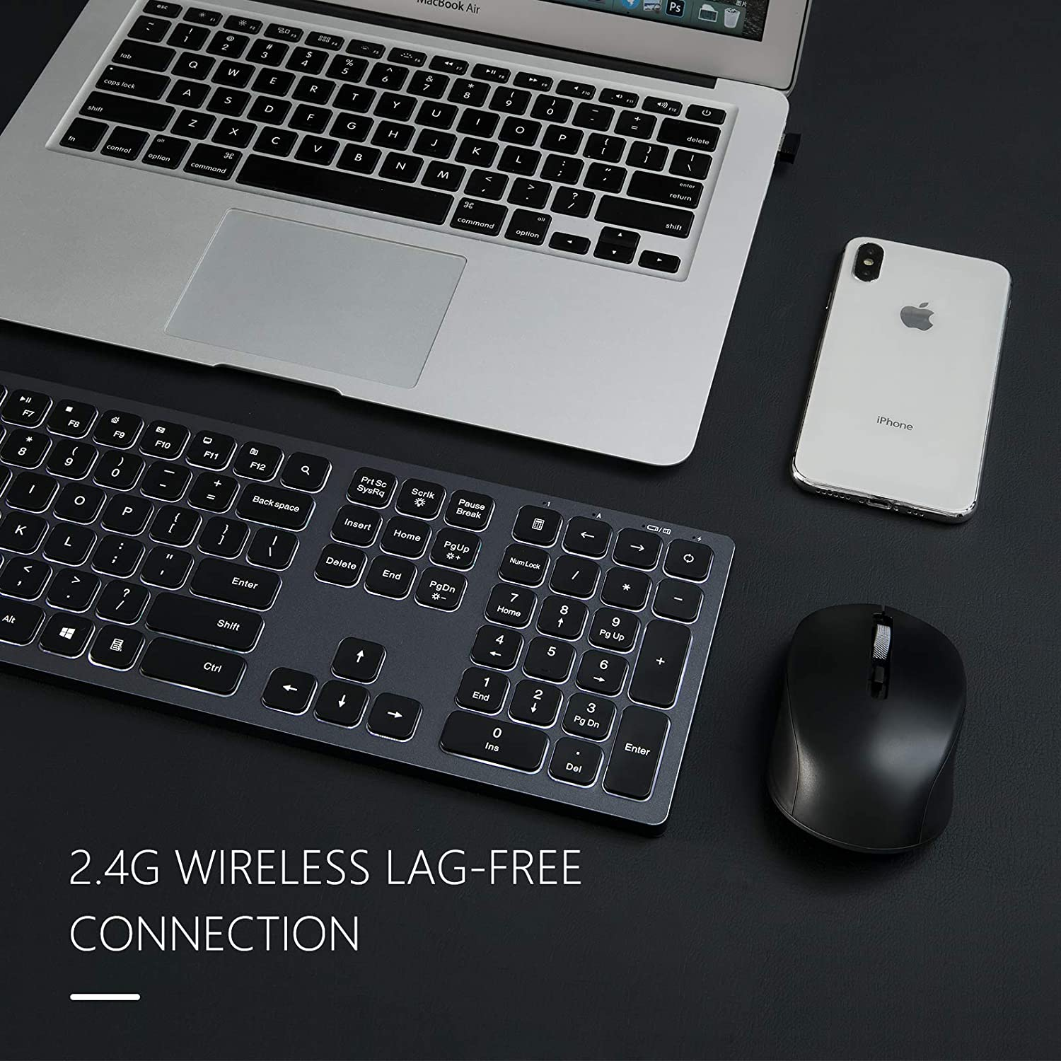 IWG-WJK67FGT Wireless Backlit Keyboard and Mouse Combo
