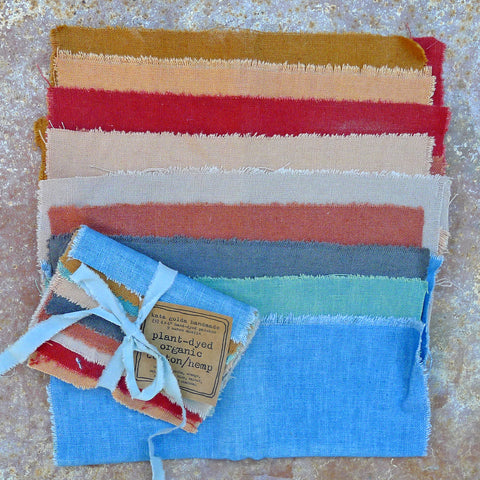 craft supplies: plant-dyed fabric, silk ribbon & sewing kits