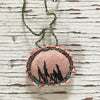 hand-stitched fabric amulet charm with adjustable clasp: dusty rose