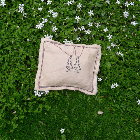 little milagro inspired lavender pillow: two girls