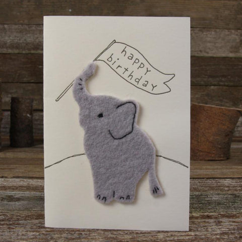 card: happy birthday, elephant