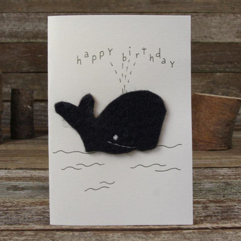 card: happy birthday, whale