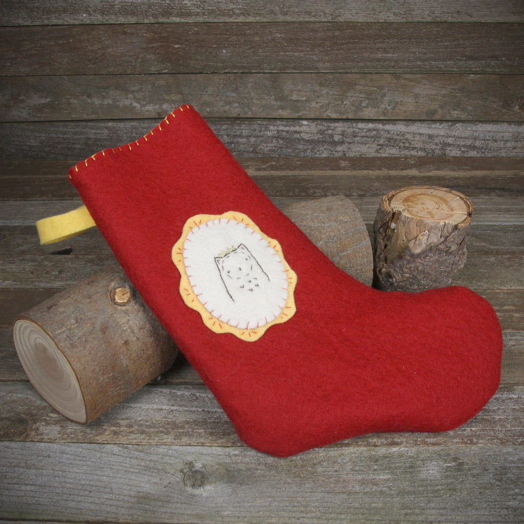 christmas stocking: owl in crown