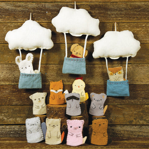cloud and bucket with finger puppet: bear