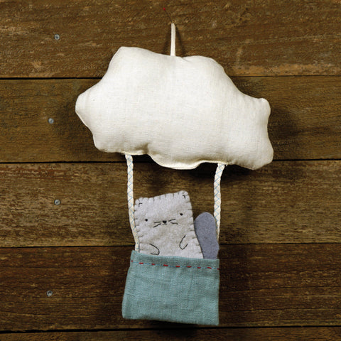 cloud and bucket with finger puppet: squirrel