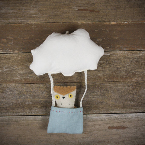 cloud and bucket with finger puppet: owl