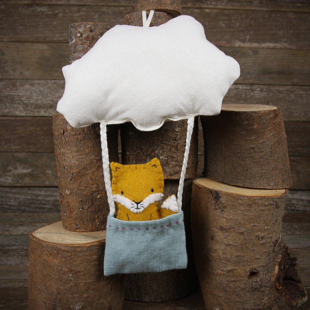 cloud and bucket with finger puppet: fox