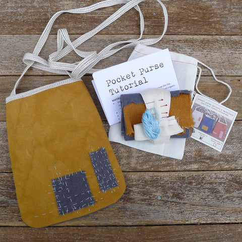 DIY pocket purse kit: charcoal & ochre