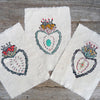 DIY block printed hand-stitched heart
