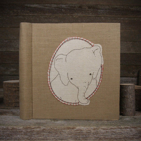 embroidered hemp organic cotton album: elephant