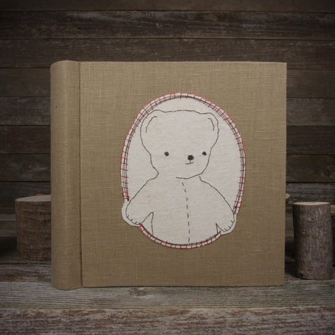 embroidered hemp organic cotton album: bear