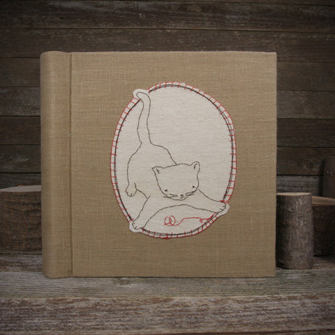 embroidered hemp organic cotton album: cat