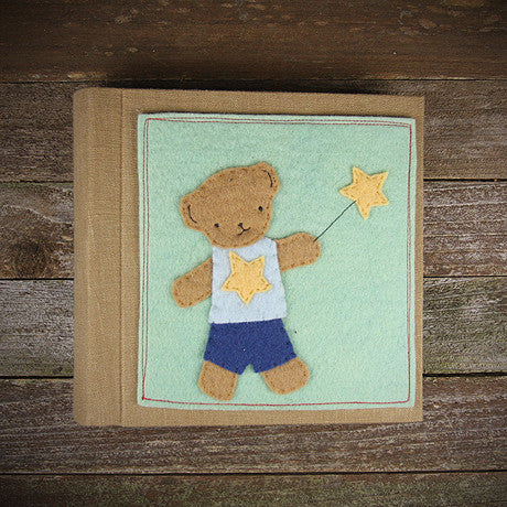 felt appliqué patch album- bear boy