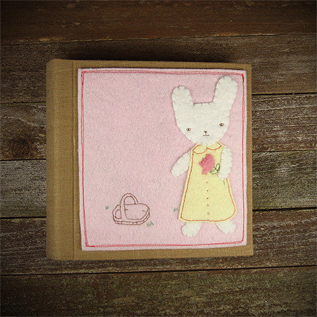 felt appliqué patch album- bunny girl