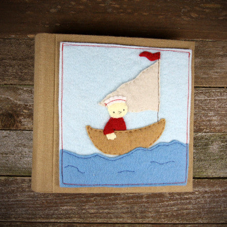 felt appliqué patch album- chick in boat