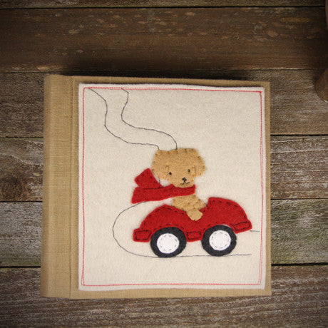 felt appliqué patch album- dog in car