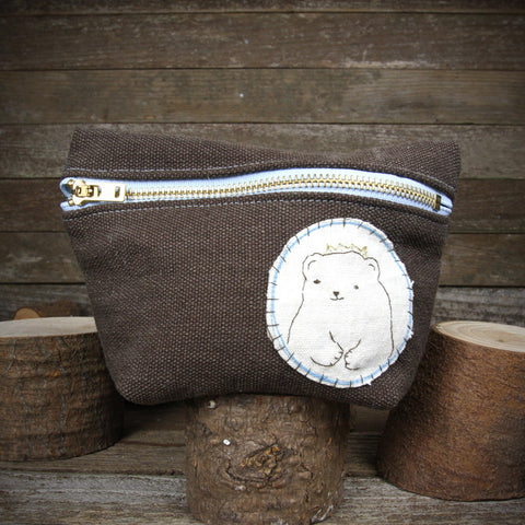 hemp stand up zipper pouch: bear in crown