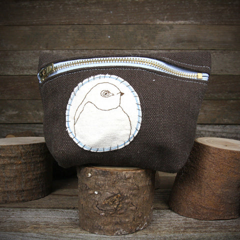 hemp stand up zipper pouch: bird