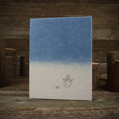 indigo hand-bound journal: snowman and bird
