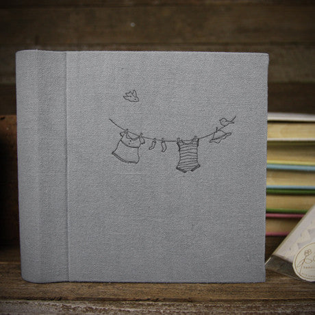 letterpress-printed hemp/organic cotton album- gray clothesline