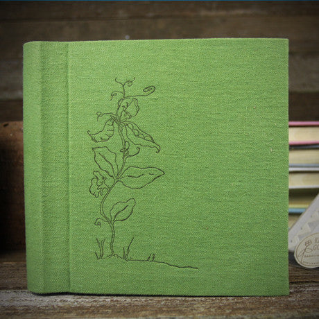 letterpress-printed hemp/organic cotton album- green pea pod
