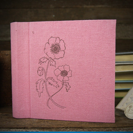 letterpress-printed hemp/organic cotton album- pink anemones