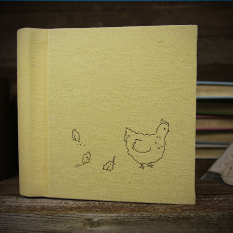 letterpress-printed hemp/organic cotton album- yellow hen and chicks