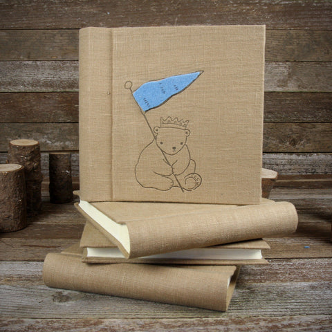 linen letterpress printed album with felt patch: bear in crown