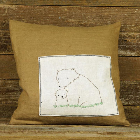 linen patch pillow: bears