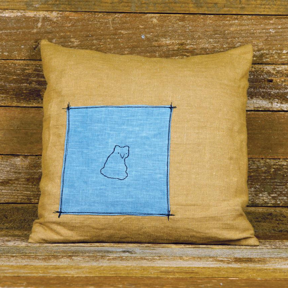 plant dyed linen patch pillow: bear