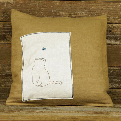 linen patch pillow: cat and butterfly