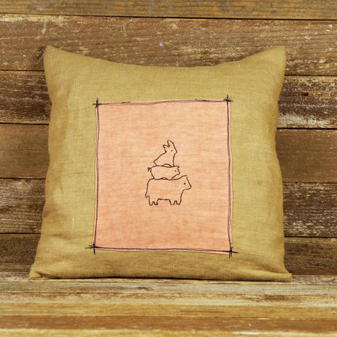 plant dyed linen patch pillow: cow, pig, rabbit stack