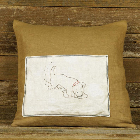 linen patch pillow: dog