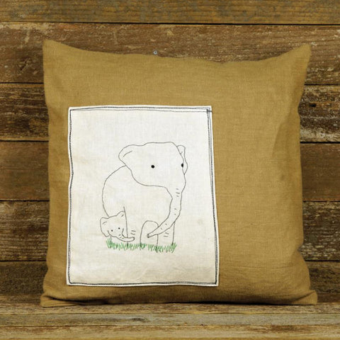 linen patch pillow: elephants