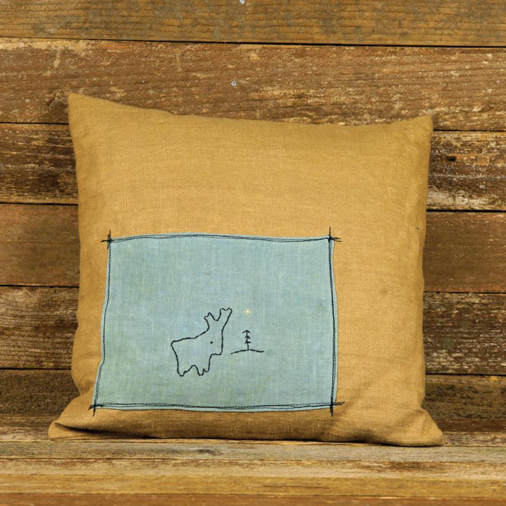 plant dyed linen patch pillow: reindeer