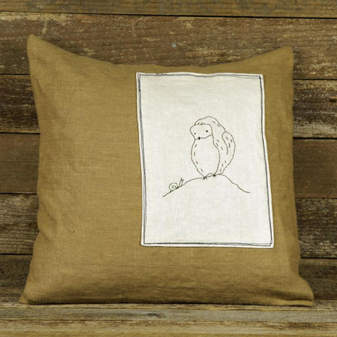 linen patch pillow: owl and snail