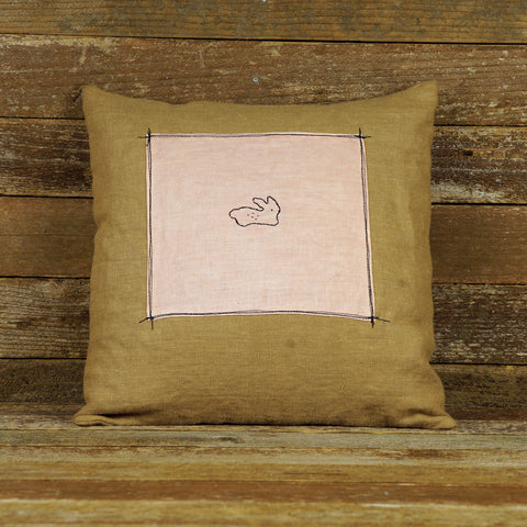 plant dyed linen patch pillow: rabbit