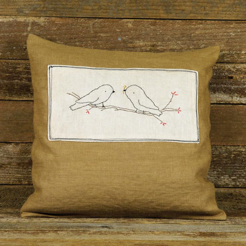linen patch pillow: two birds