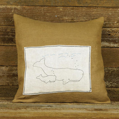 linen patch pillow: whales