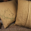 linen embroidered pillow- fox